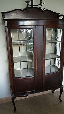 edwardian bow fronted display cabinet shabby shic vintage