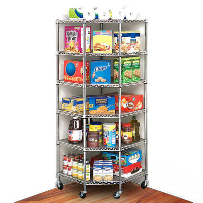 Commercial Wheel 6-Tier Corner Shelf Adjustable Wire Steel Shelving Storage Rack