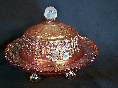 Antq FENTON Carnival Glass BUTTERFLY & BERRY 3 Footed Butter Dish AMBER MARIGOLD