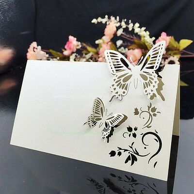 50pcs Butterfly Laser Cut Table Name Place Card Setting Wedding Party Supplies