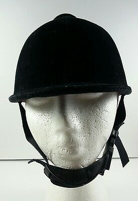 VTG BLACK VELVET HUNTING HORSE BACK RIDING EQUESTRIAN CAP HARD HAT w/ CHIN STRAP