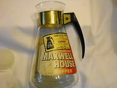 Vintage Maxwell House Glass Coffee Carafe With Gold Starburst Pattern