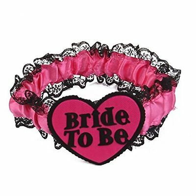 Black Lace & Fuchsia Pink Ribbon Bride To Be Hen Night Lace Garter Party Gift