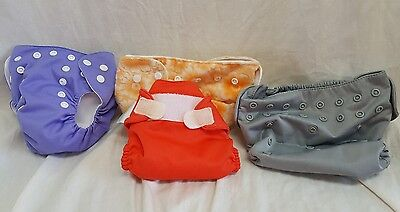 Lot of 4 Cloth Diapers Bumgenius Flips Happy Flute Includes 2 Inserts Floral