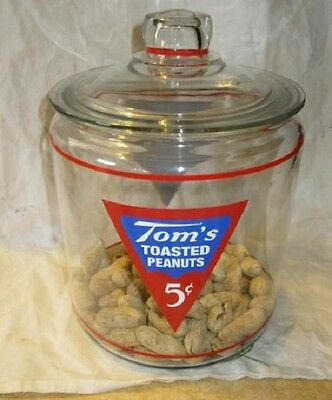 Nice Tom's Toasted Peanuts Store Counter Display Jar 5 Cents