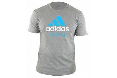 Adidas Boxing T-Shirt Grey Cotton Tee Martial Arts Casual Gym Gift Tshirt Adult