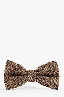 Mens Marc Darcy Designer Tan Check Print Tweed Bow Tie