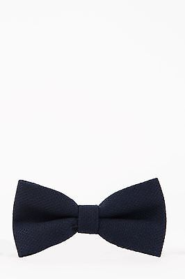 Mens Marc Darcy Designer Navy Tweed Bow Tie