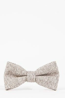 Mens Marc Darcy Designer Cream Heritage Herringbone Tweed Bow Tie
