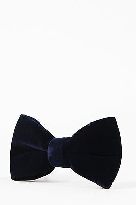 Mens Marc Darcy Designer Light Navy Velvet Bow Tie