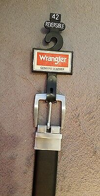 Wrangler Men's Black Genuine Leather Belt w/Brushed Nickel Buckle, Size 42, NWT!