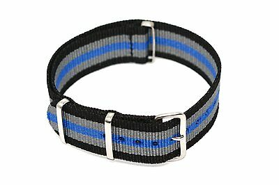 20Mm Blue Gray Black Nylon Military Watch Band Strap Fits Timex Weekender T2N647