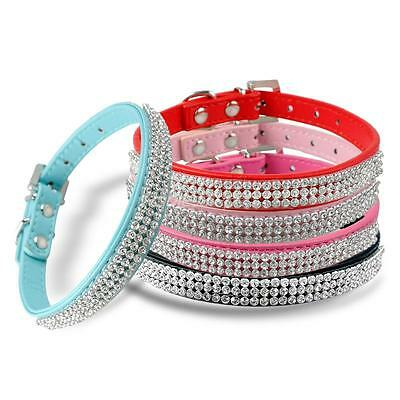 Luxury Diamante Band Rhinestone Crystal Bling PU Leather Dog Cat Pet Collar UK