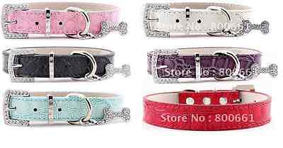 Croc Pet Dog Cat Collar PU Leather Bling UK Seller Rhinestone Buckle