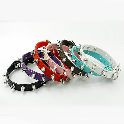 Rounded Spikes Style Collar Pet Dog Cat Collar PU Leather