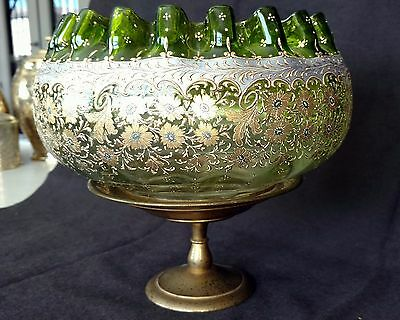 MOSER Green-Gold Gilt- Enameled 1890's Bridal Bowl on Tiffany Gilded Stand Rare!