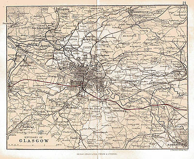 Map of the Environs of Glasgow, Scotland.