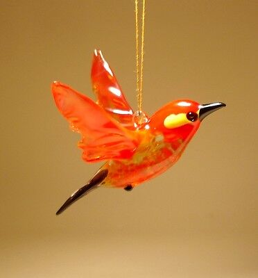 "Blown Glass Figurine ""Murano"" Art Small Hanging RED Bird Ornament"
