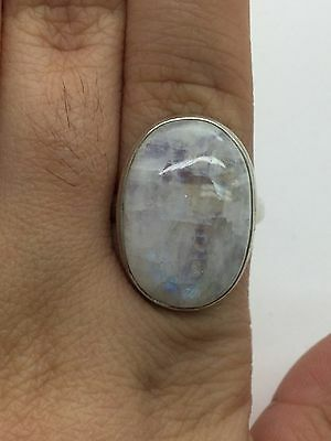 Vintage 925 Sterling Silver Oval Cabochon MoonStone Statement Ring-  Size 8