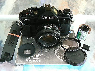 Canon A-1 Camera W/50Mm F1.8 Lens *tested *lubed Shutter & New Foam *mint Minus