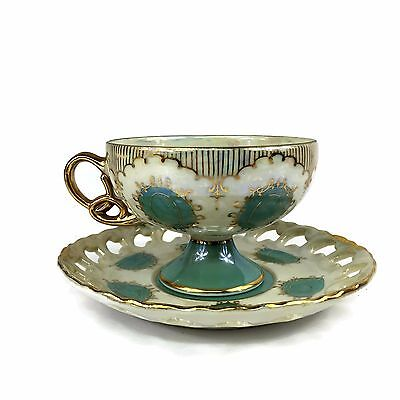 VTG Orleans Tea Cup And Saucer Set Gold Rimmed Pearl Finish Green Blue