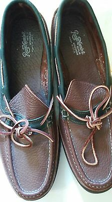 Russell Moccasin Mens Brown Leather  Mocassin Airport Camp Boat  Shoes, 13 B