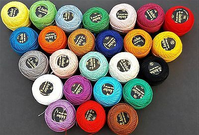 25 ANCHOR Pearl Cotton Crochet Balls. Size 8 (85 Meters each), Excellent Colours