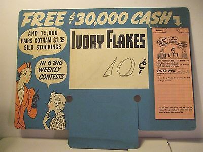 Grocery Store Ivory Flakes Soap. Cardboard Sign