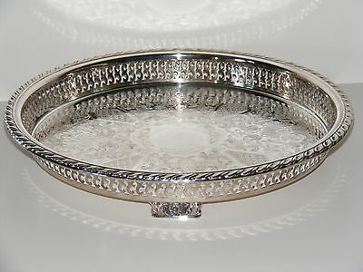 Silver Plated WM A ROGERS Oneida Ltd. Gallery Footed Serving Tray Reticulated