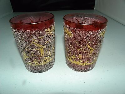 2 Antique Victorian Cranberry Glass Tumblers Frit With Gold Oriental Pattern