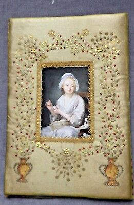 FRENCH SEQUIN  EMBROIDERY on SILK Picture Frame, Metallic Trim, Silk Thread