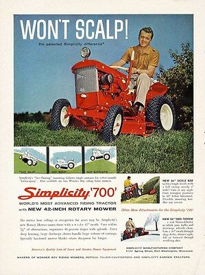 SIMPLICITY 700 Lawn Mower Tractor Ad 1961 Sickle Bar and Snow Blizzard Buster Ad