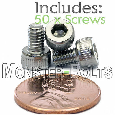 M4 x 6mm - Qty 50 - DIN 912 SOCKET HEAD Cap Screws - Stainless Steel A2 / 18-8