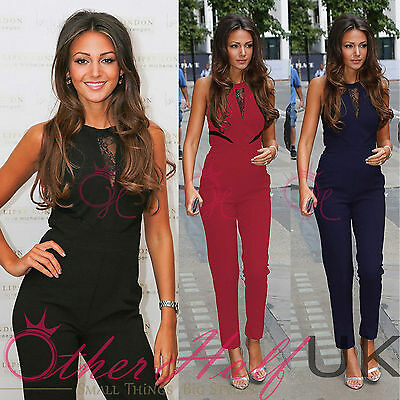 UK Womens 3 Colour Evening Party Playsuit Ladies Lace Long Jumpsuit Size 8 - 14