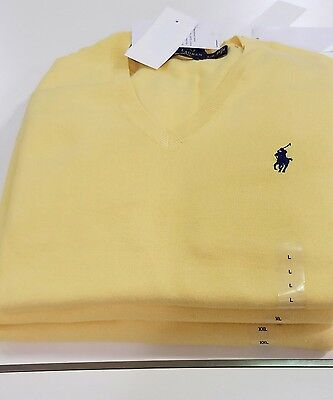 New Polo Ralph Lauren Men's Pima Cotton V- NECK Sweater Knit  Sz XL