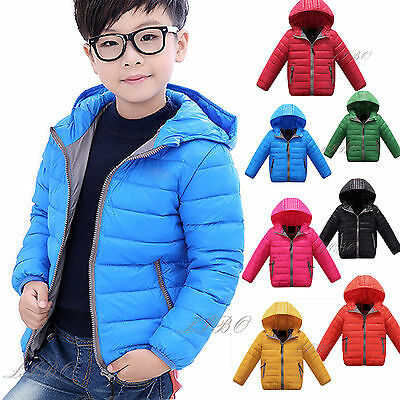 Winter Kids Boys Girls Duck Down Coat Jacket Snowsuit Hooded Warm Quilted Puffer