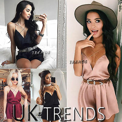 UK Womens Satin Strappy Holiday Playsuit Ladies Jumpsuit Summer Beach Size6-14