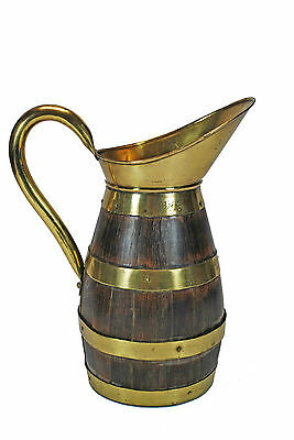 Vintage Brass Bound Staved Oak Wine or Cider Jug, French or Flemish.