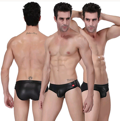 Men's Leather Rubber Look Brief Style Underwear , Large , Black