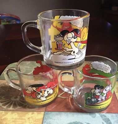 Vintage McDonald's Garfield Glass Mugs Set Of 3