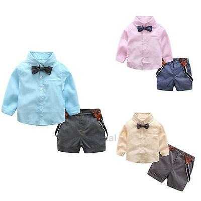 2pcs Toddler Kids Baby Boy Clothes Shirt Tops+Suspender Pants Shorts Outfits Set
