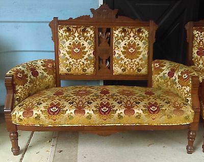 Exceptional Eastlake Settee and Arm Chair Original velvet fabric