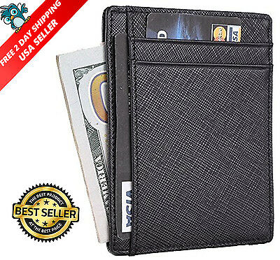 Men Genuine Leather Money Clip Slim Wallet Credit Card Holder Black Front Pocket
