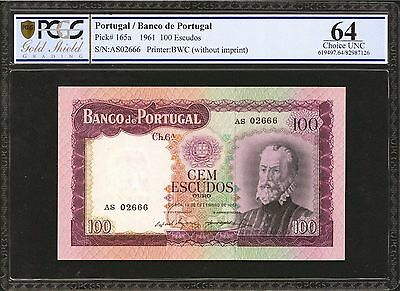 Portugal Pick 165a 1961 100 Escudos WITHOUT IMPRINT PCGS GSG Choice Unc  64