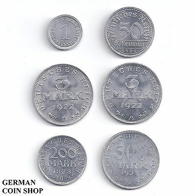 Set 1, 50 Pfennig 3, 3, 200, 500 Mark 1917 - 1923 Aluminium - Deutsches Reich