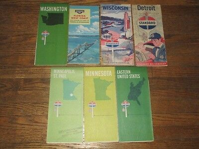 Lot of 7 Early Standard Oil Gas Road Maps
