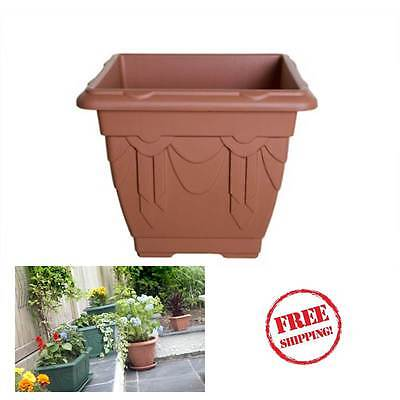 Tall Square Planter Pots Plastic Large Garden Patio Outdoor Flower Plant Brown
