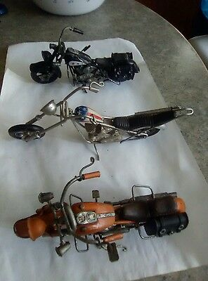 Handcrafted Metal Collectible Motorcycles Lot of 3