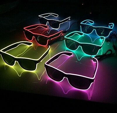 Cool Flashing Neon Light Sunglasses - 7 Colours Available (Fancy Dress) Glasses