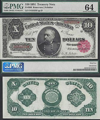 $10 1891=TREASURY NOTE=SHERIDAN=RED SEAL=Fr. 369=GREAT NOTE=PMG Ch Unc